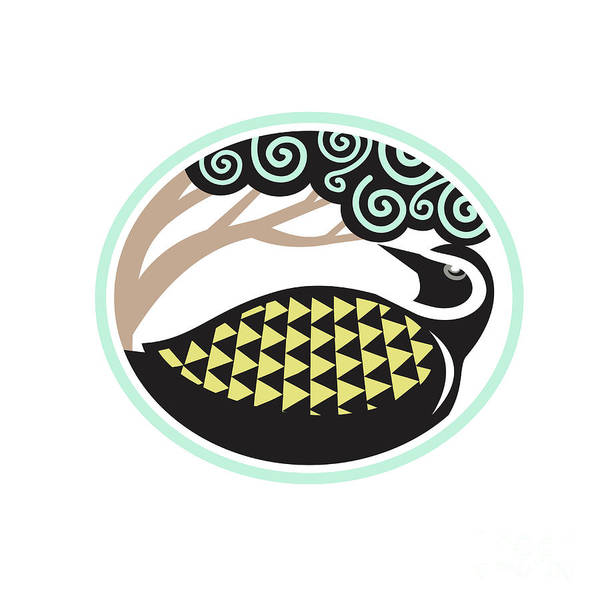 Tribal Digital Art - Golden Plover Looking Up Tree Oval Tribal Art by Aloysius Patrimonio