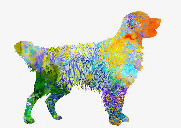 Golden Retriever Digital Art - Golden Retriever-colorful by Erzebet S