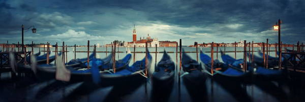 Photograph - Gondola And San Giorgio Maggiore Island Panorama by Songquan Deng