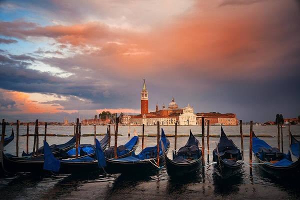 Photograph - Gondola And San Giorgio Maggiore Island Sunrise by Songquan Deng