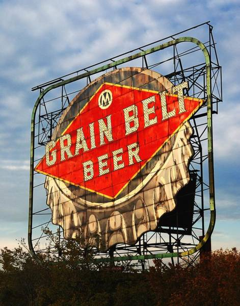 Midwest Photograph - Grain Belt Beer Sign by Jim Hughes