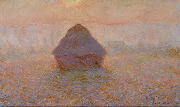 Barley Painting - Grainstack, Sun In The Mist 1891 by Claude Monet
