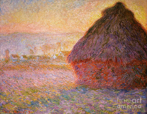 Painting - Grainstack Sunset By Monet by Claude Monet