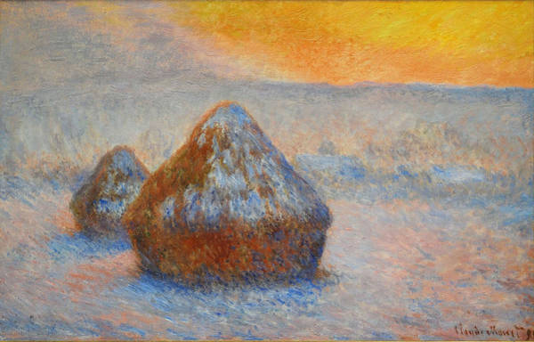 Barley Painting - Grainstacks At Sunset, Snow Effect, 1891 by Claude Monet