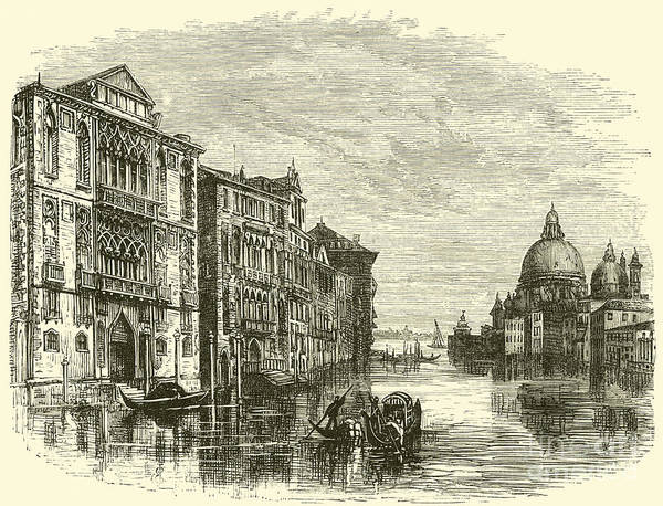 Wall Art - Drawing - Grand Canal, Venice by E Jennings