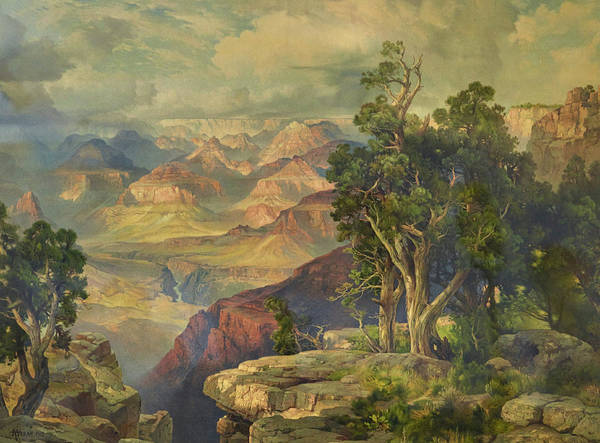 Atmospheric Painting - Grand Canyon From Hermit Rim Road by Thomas Moran