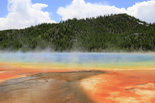 Photograph - Grand Prismatic Spring Landscape by Dan Sproul