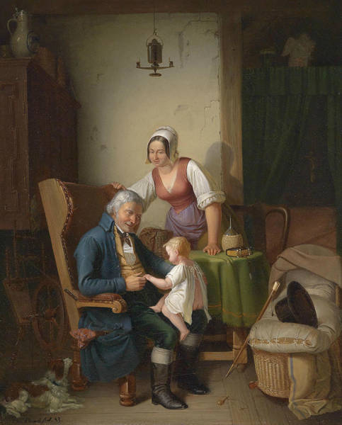 Wall Art - Painting - Grandfather's Joy by Emil Bauch