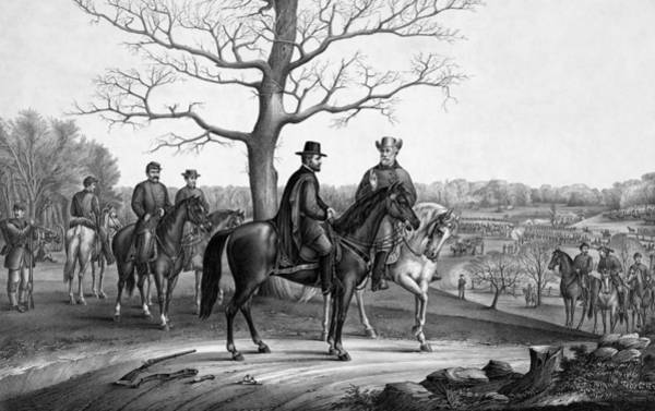 Wall Art - Drawing - Grant And Lee At Appomattox by War Is Hell Store