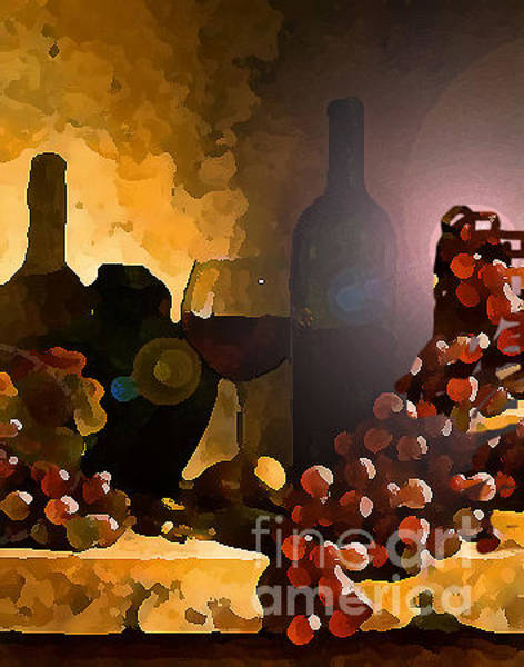 Cellar Digital Art - Grapes And Wines by Praval Dadheech