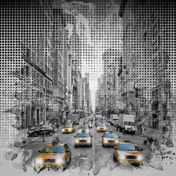 5th Photograph - Graphic Art New York City 5th Avenue Traffic by Melanie Viola