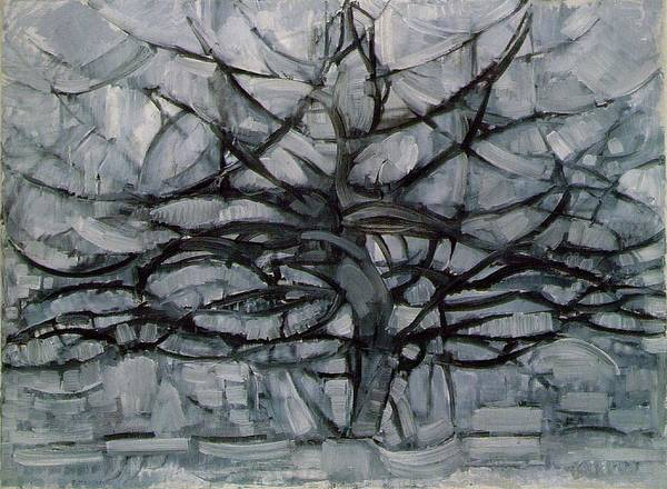 Wall Art - Painting - Gray Tree Piet Mondrian by MotionAge Designs