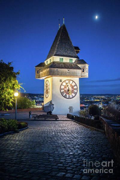 Wall Art - Photograph - Graz Clock Tower by JR Photography