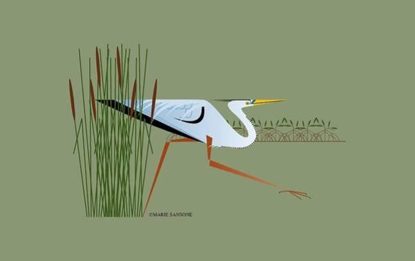 Mangroves Digital Art - Great Blue Heron by Marie Sansone