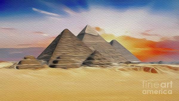 Wall Art - Painting - Great Pyramid Of Giza, Egypt by John Springfield