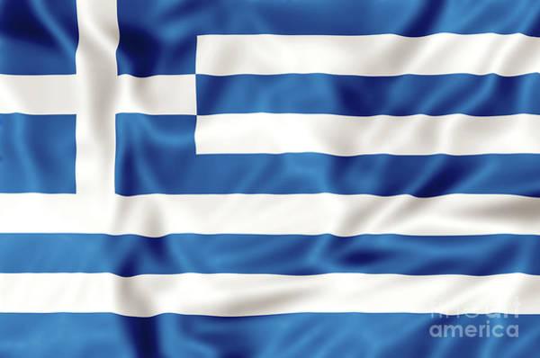 Digital Art - Greece Flag by Benny Marty