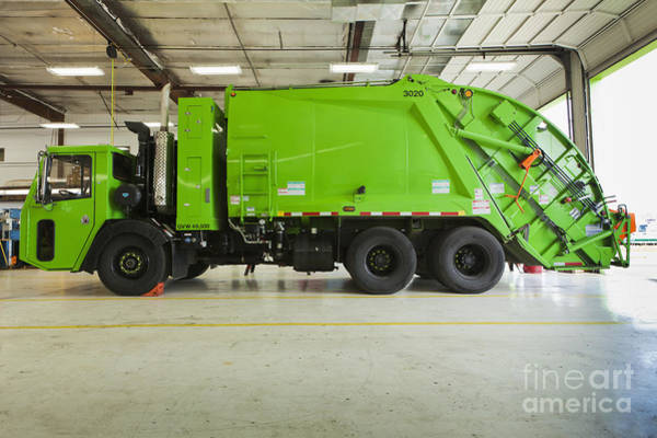 Wall Art - Photograph - Green Garbage Truck Maintenance by Don Mason