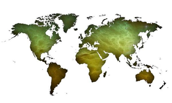 Digital Art - Green Worldmap by Alberto RuiZ