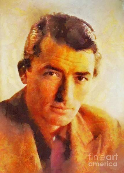 Poetry Painting - Gregory Peck, Vintage Hollywood Actor by Sarah Kirk