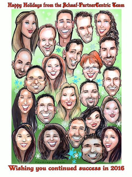 Digital Art - Group Caricature by Kevin Middleton