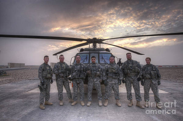Iraqi Photograph - Group Photo Of Uh-60 Black Hawk Pilots by Terry Moore