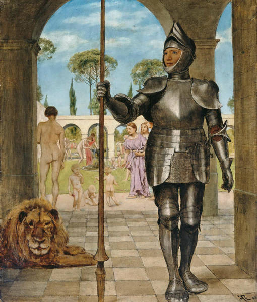 Wall Art - Painting - Guardian In Front Of The Garden Of Love by Hans Thoma