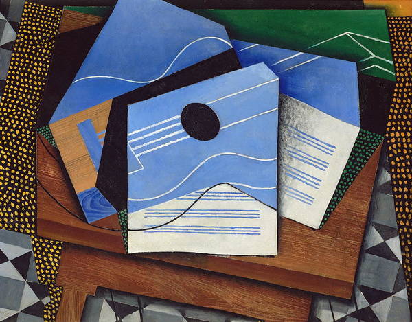 Spanish Guitar Wall Art - Painting - Guitar On A Table by Juan Gris