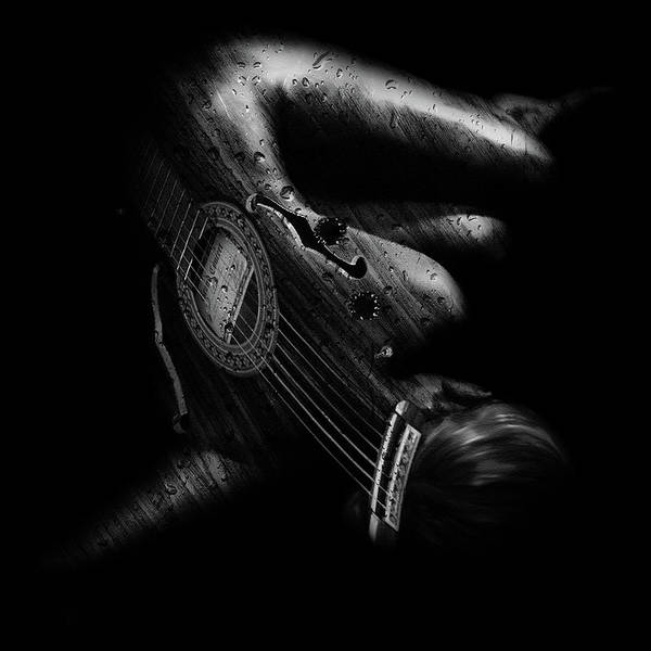 Grayscale Digital Art - Guitar Woman by Marian Voicu