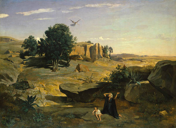 Painting - Hagar In The Wilderness by Jean-Baptiste-Camille Corot