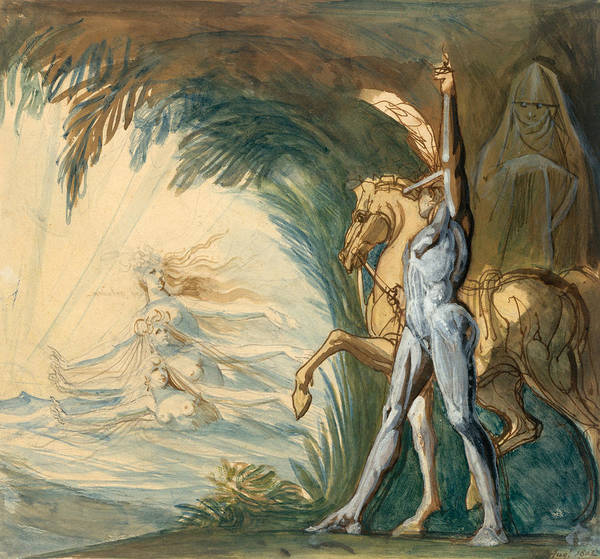 Drawing - Hagen And The Nymphs Of The Danube by Henry Fuseli