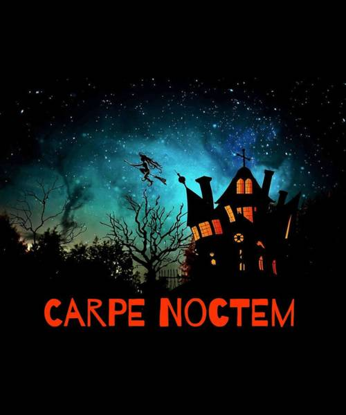 Haunted House Drawing - Halloween Fun Carpe Noctem Sieze The Night Haunted House Witch by Kanig Designs