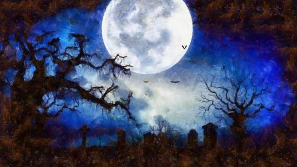 Wall Art - Painting - Halloween Horror Night by Sarah Kirk