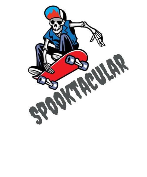 Trick Or Treat Drawing - Halloween Spooktacular Skater Skeleton Dude by Kanig Designs