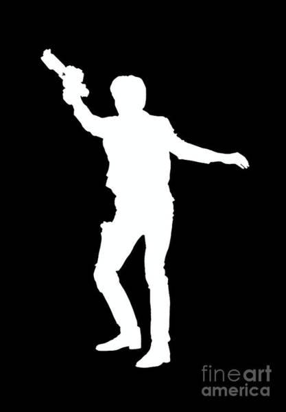 Shadow Digital Art - Han Solo Star Wars Tee by Edward Fielding