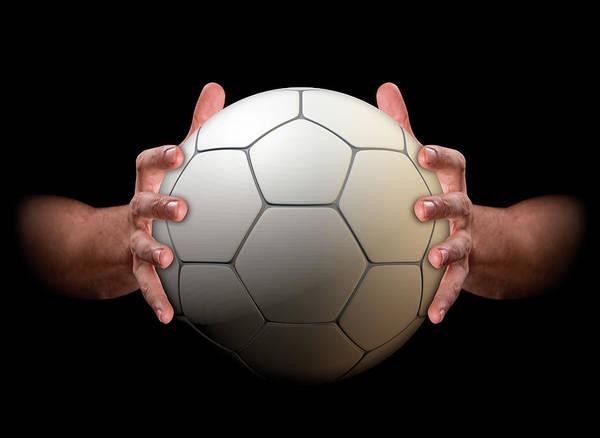 Wall Art - Digital Art - Hands Gripping Soccer Ball by Allan Swart