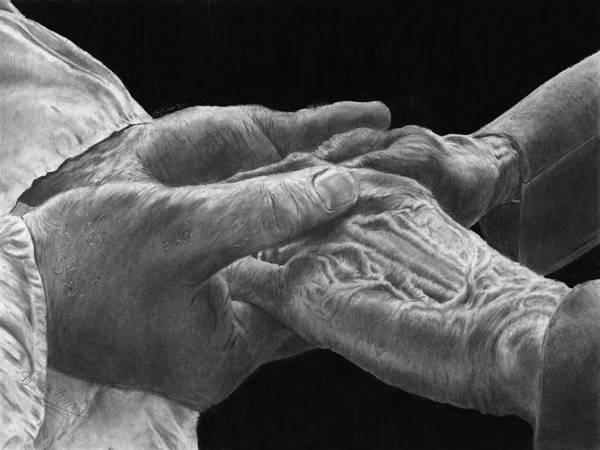 Elderly Wall Art - Drawing - Hands Of Love by Jyvonne Inman