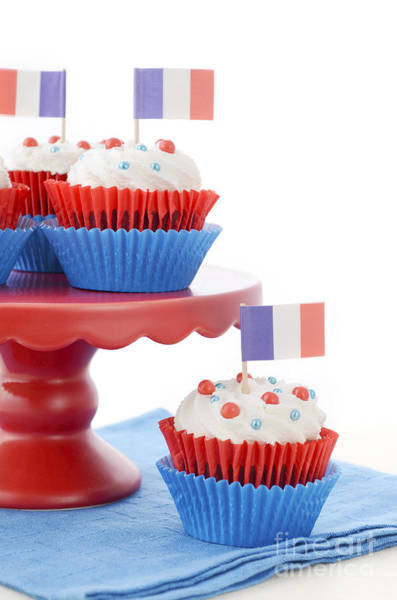 Vive La France Wall Art - Photograph - Happy Bastille Day Party Cupcakes by Milleflore Images