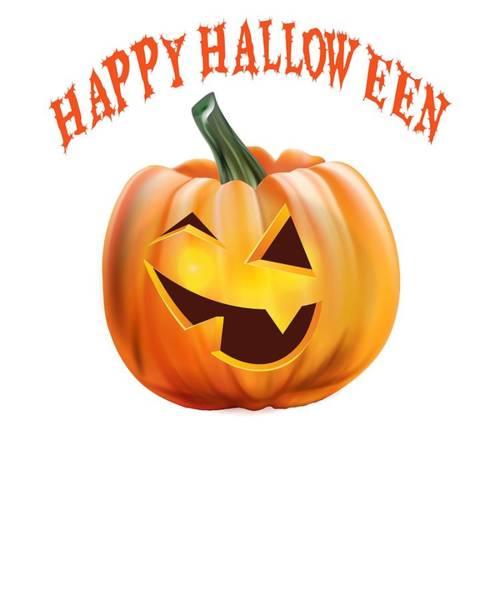 Trick Or Treat Drawing - Happy Halloween Funny Jack O Lantern Pumpkin by Kanig Designs
