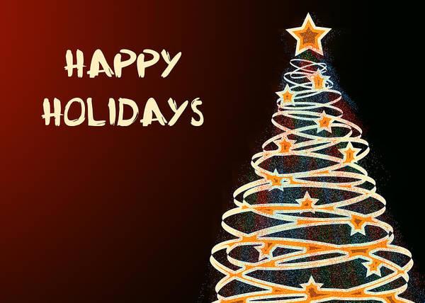 Xmas Digital Art - Happy Holidays Christmas Tree  by Maggie Terlecki