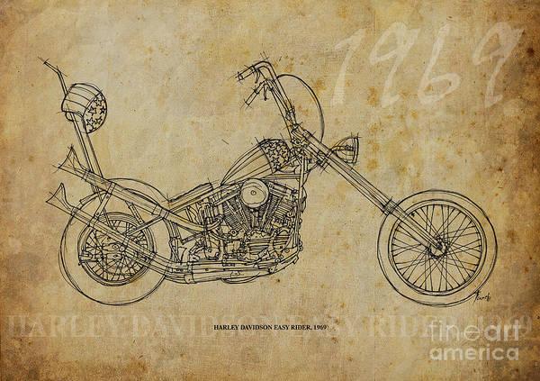 Man Cave Drawing - Harley Davidson Easy Rider 1969 by Drawspots Illustrations