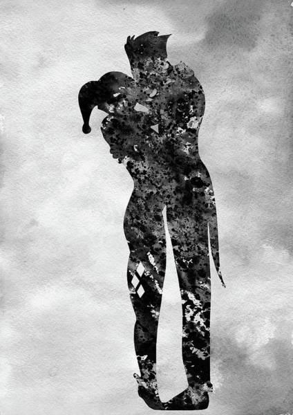 Harley Quinn Wall Art - Digital Art - Harley Quinn And Joker-black by Erzebet S