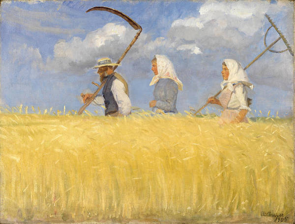 Barley Painting - Harvesters by Anna Ancher