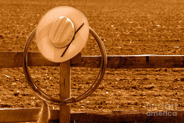 Wall Art - Photograph - Hat And Lasso On A Fence - Sepia by Olivier Le Queinec
