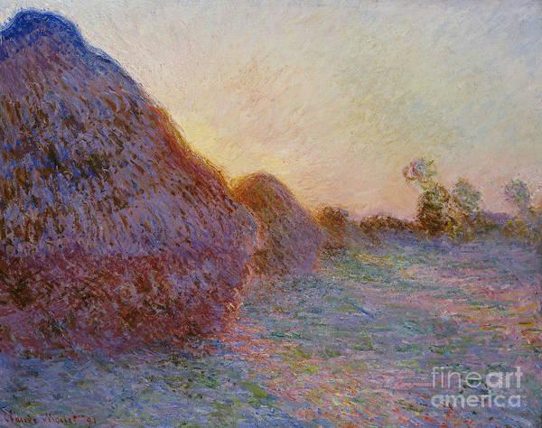 Monet Painting - Haystacks by Claude Monet