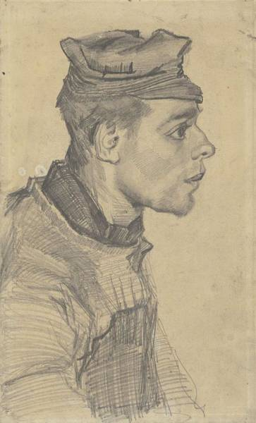 Painting - Head Of A Young Man Nuenen, December 1884 - May 1885 Vincent Van Gogh  1853  1890 by Artistic Panda
