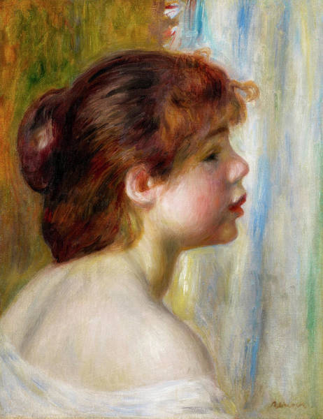 People Watching Painting - Head Of A Young Woman by Pierre-Auguste Renoir