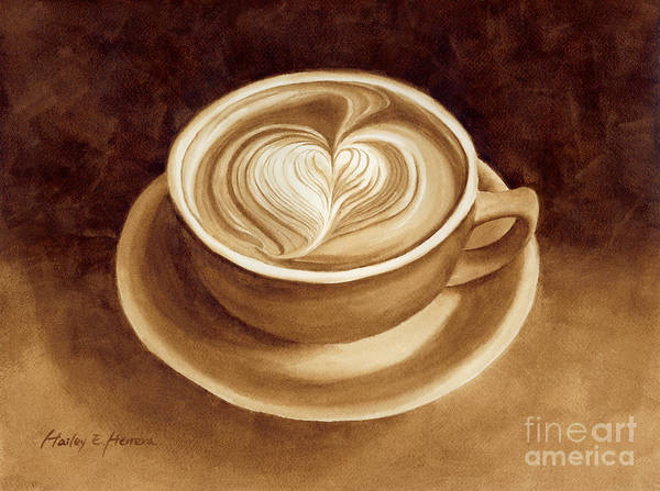 Sepia Painting - Heart Latte II by Hailey E Herrera