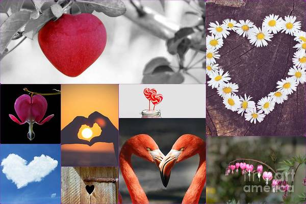 Painting - Hearts Collage by Celestial Images