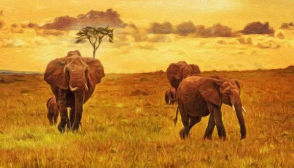 Behaviour Digital Art - Herd Of Elephants At Sunset by Miroslav Liska