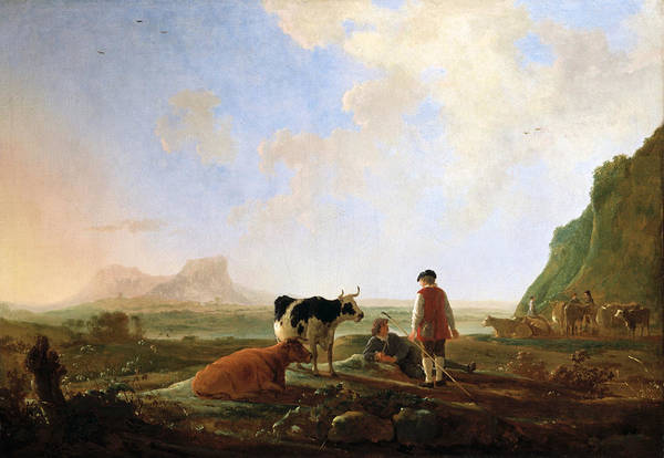 Cuyp Wall Art - Painting - Herdsmen With Cows by Aelbert Cuyp